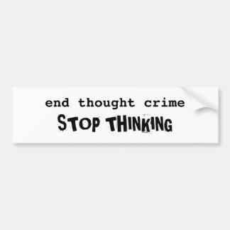 Pegatina para el parachoques del crimen del pensam pegatina para auto