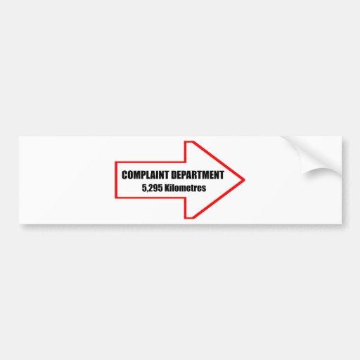 Pegatina para el parachoques del departamento de d etiqueta de parachoque