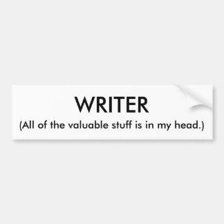 Pegatina para el parachoques del escritor pegatina para auto