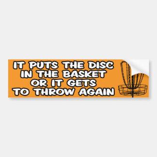 Pegatina para el parachoques del golf del disco etiqueta de parachoque