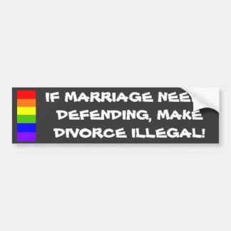 Pegatina para el parachoques del matrimonio homose pegatina de parachoque