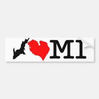 Pegatina para el parachoques del MI del ♥ I (coraz Etiqueta De Parachoque