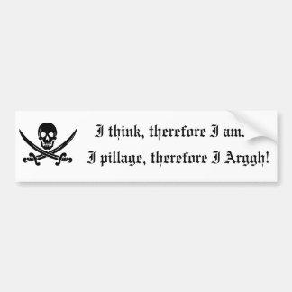 Pegatina para el parachoques del pirata: Pienso, p Pegatina Para Auto