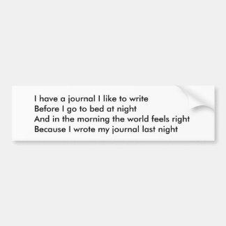 Pegatina para el parachoques del poema del diario pegatina para auto