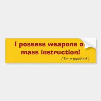 Pegatina para el parachoques del profesor de WMI Etiqueta De Parachoque
