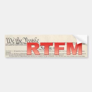 Pegatina para el parachoques del RTFM de la consti Etiqueta De Parachoque