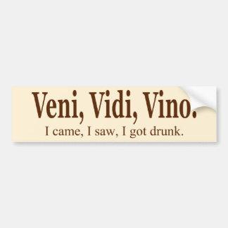 Pegatina para el parachoques del vino de Veni Vidi Pegatina De Parachoque
