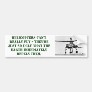 Pegatina para el parachoques fea del helicóptero pegatina para auto