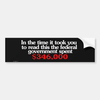 Pegatina para el parachoques federal del gasto etiqueta de parachoque