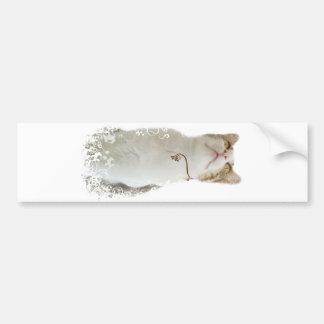 Pegatina para el parachoques floral blanca del gat pegatina para auto