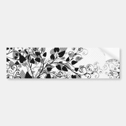 Pegatina para el parachoques floral blanca negra pegatina para auto