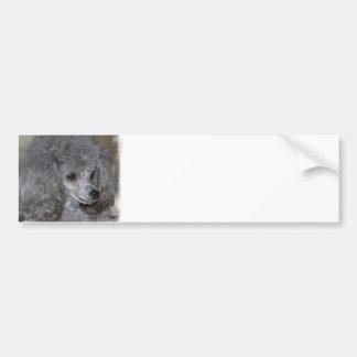 Pegatina para el parachoques gris del caniche pegatina para auto