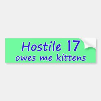 Pegatina para el parachoques hostil de 17 gatitos etiqueta de parachoque