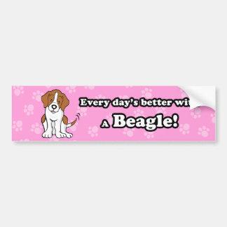 Pegatina para el parachoques linda del beagle del  pegatina de parachoque
