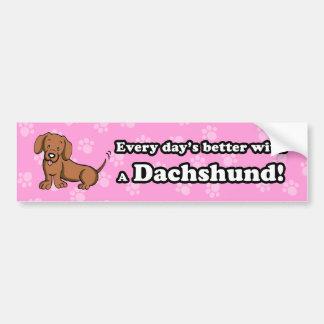 Pegatina para el parachoques linda del Dachshund d Pegatina De Parachoque