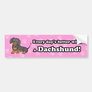 Pegatina para el parachoques linda del Dachshund d Pegatina Para Auto