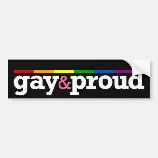 Pegatina para el parachoques negra de Gay&proud Etiqueta De Parachoque
