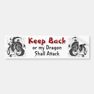 Pegatina para el parachoques negra de los dragones etiqueta de parachoque