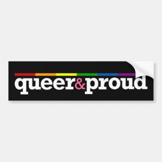 Pegatina para el parachoques negra de Queer&proud Etiqueta De Parachoque