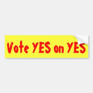 Pegatina para el parachoques política del voto sí pegatina de parachoque