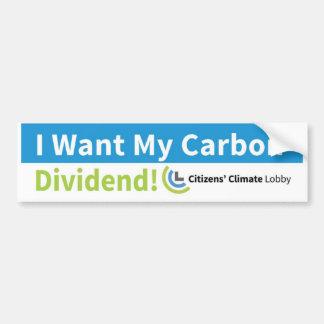 Pegatina para el parachoques: Quiero mi dividendo Pegatina Para Auto