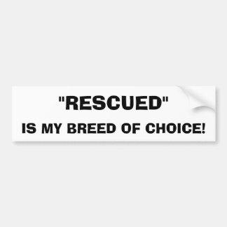 Pegatina para el parachoques rescatada del perro pegatina de parachoque