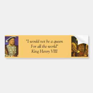 Pegatina para el parachoques: Rey Enrique VIII Pegatina De Parachoque