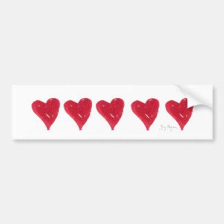 Pegatina para el parachoques roja de los corazones pegatina de parachoque