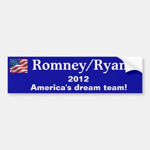 Pegatina para el parachoques Romney/Ryan 2012 Etiqueta De Parachoque
