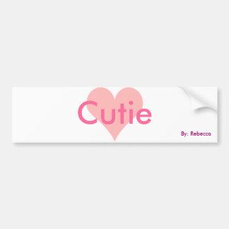 Pegatina para el parachoques rosada de Cutie Etiqueta De Parachoque