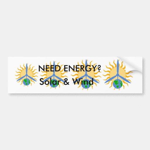 Pegatina para el parachoques sobre ENERGÍA solar y Etiqueta De Parachoque