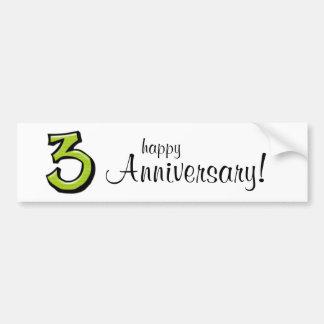 Pegatina para el parachoques verde del aniversario etiqueta de parachoque