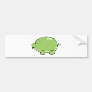 Pegatina para el parachoques verde del cerdo pegatina para auto