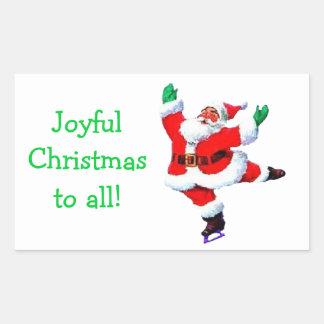 Pegatina patinador del navidad de Santa