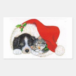 Pegatina/perrito y gatito del navidad pegatina rectangular