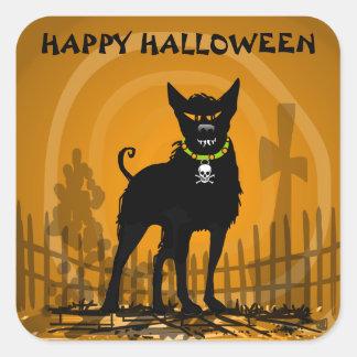 Pegatina - perro asustadizo malvado de Halloween