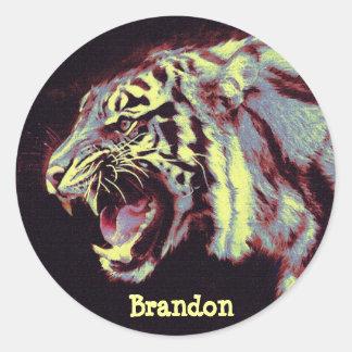 pegatina personalizable de gruñido del tigre
