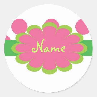 Pegatina personalizado chica rosado del regalo