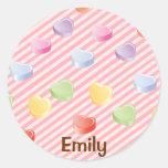 Pegatina personalizado corazón del caramelo