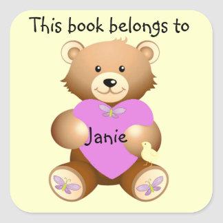 Pegatina personalizado del Bookplate del oso de