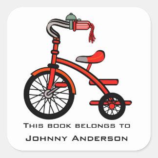 Pegatina personalizado del Bookplate del triciclo