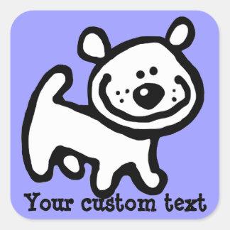 Pegatina personalizado feliz del perro de perrito