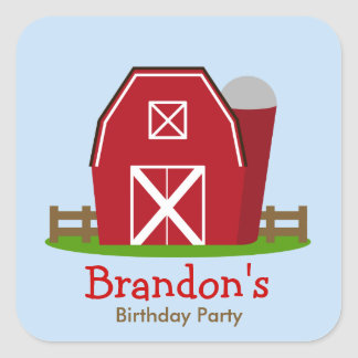 Pegatina personalizado granja roja de la fiesta de
