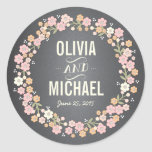 Pegatina personalizado guirnalda floral encantador