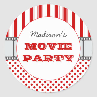 Pegatina personalizado película de cine del fiesta