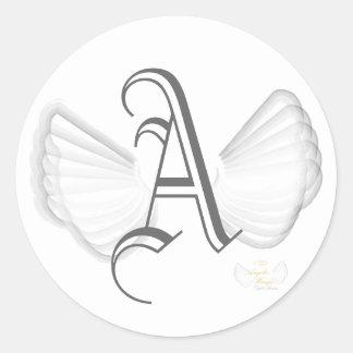Pegatina-Personalizar con alas del monograma Pegatina Redonda