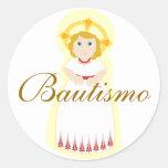"Pegatina-Personalizar de ""Bautismo"" Pegatina Redonda"