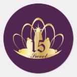 Pegatina-Personalizar púrpura de la tiara del
