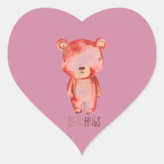 Pegatina pintado a mano lindo del oso marrón