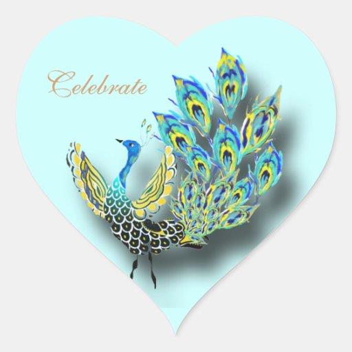 Pegatina pintado del corazón del pavo real